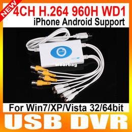 Wholesale Dvr Wd1 - Wholesale-4CH H.264 960H CCTV Network DVR USB Video Capture Card Full WD1 D1 Mobile Views