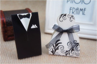 Wholesale Dress Candy Box Favor - Wedding Candy Boxes Small Gift Bags Lots Paper White Black Bride Groom Dress Wedding Favours Free Shiping Candy Holder Boxes 1001