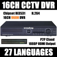 Wholesale Standalone Dvr 16 Channel - Wholesale-Free shipping 16 Channel H.264 real time Full 960H CCTV Standalone DVR Cloud network HDMI 1080P 16CH D1 DVR recorder