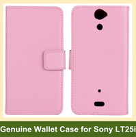 Wholesale Case For Xperia V - Wholesale New Genuine Leather Wallet Folding Flip Cover Case for Sony Xperia V LT25i Free Shipping
