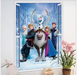 Wholesale Anna Mirror - 2017 FROZEN Elsa Anna PRINCESS 3D Window View Cartoon Decal WALL STICKER PVC Home Decor 50X70cm