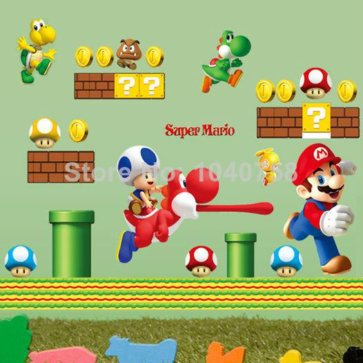 Removable Large Super Mario Bros Wall Stickers For Kids Rooms Home  Decoration Wall Art Cartoon Decorative