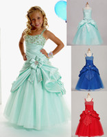 robe verte robe fille fleur achat en gros de-Sweet Green Taffeta Straps Beads Wedding Flower Girl Dresses Robes de style Girls 'Dressy Skirt Custom Size 2 4 6 8 10 12 DF621001