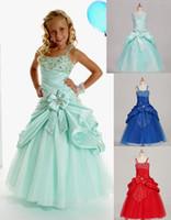 Sweet Green Taffeta Straps Beads Wedding Flower Girl Dresses...