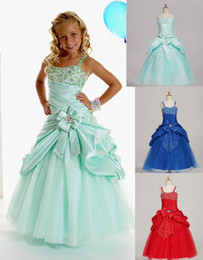 Wholesale Spaghetti Beads Pageant Dress - Sweet Green Taffeta Straps Beads Wedding Flower Girl Dresses Girls' Pageant Dresses Dressy Skirt Custom Size 2 4 6 8 10 12 DF621001