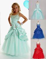 helle grüne formale kleider großhandel-Hellblau Rot Grün Taft Riemen Perlen Blumenmädchenkleider Abendkleider Festzugskleid Benutzerdefinierte Größe 2 4 6 8 10 12 FD621888
