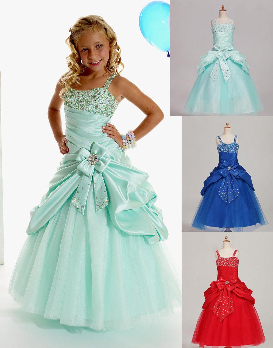 Brillant Bleu Rouge Vert Taffetas Bretelles Perles Robes De Fille De Fleur Robes Formelles Pour Filles Robe De Reconstitution Sur Mesure 2 4 6 8 10 12 FD621888