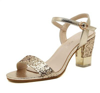Wholesale High Heel Shoes Gold Paillette - Sparkly gold paillette chunky heel sandals fashion high heels women shoes summer sandals ladies prom gown dress shoes size 35 to 39
