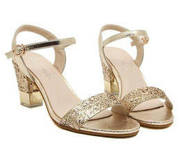 Wholesale Cheap Gold Shoes Heels - Sparkly paillette chunky heel gold sandals fashion low heels women shoes summer sandals ladies cheap shoes size 35 to 39