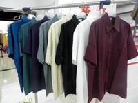 Wholesale Men Silk Short Sleeve Shirt - Male silk shirts, 100% mulberry silk men shirt,solid color short-sleeve silk shirt men