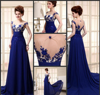 Wholesale Dreeses Lace - 2016 Sexy Blue Evening Formal Wedding Prom Dreeses 100% Real Image Stocks Avaliable Three Days Delivery Elegant Court Chiffon Lace Dress