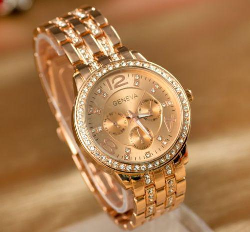 Orologio da donna di lusso Ginevra Orologio da polso da donna con strass in cristallo di quarzo di lusso di moda da donna, in oro rosa. Cinturino in acciaio inossidabile