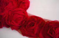 fleurs de ruban de maille achat en gros de-7 Mètres 6.5 cm 3D Rouge Rouge Ivoire Mousseline Chic Shabby Effiloché Rose Fleurs Ruban Dentelle Tissu Lime À Coudre Maille Garniture Pour Bandeau Pince à Cheveux