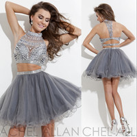 Wholesale Silver Short Dresses Free Shipping - 2014 Halter A-line Silver Organza Beaded Crystal Two Pieces Mini Short Graduation Gowns Cocktail Free Shipping Homecoming Dresses