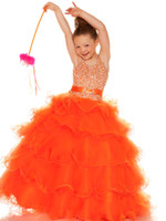 Bright Orange Purple Tulle Halter Beaded Sugar Girls Pageant...