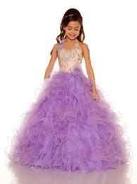 Wholesale Dressy Dress Size 12 - Sweet White Blue Purple Tulle Halter Beaded Sugar Girls Pageant Dress Flower Girl Dresses Princess Dressy Skirt Custom Size 2-12 HF621052