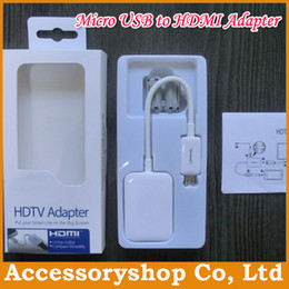 Wholesale Adapter For S3 Hdmi - MHL 11pin Micro USB to HDMI HDTV Adapter Audio Cable Converter for Samsung Galaxy S4 S3 Note 2 With Retail Package 100pcs DHL