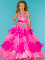 Cute Rose Blue Organza Halter Beaded Sugar Girls Pageant Dre...