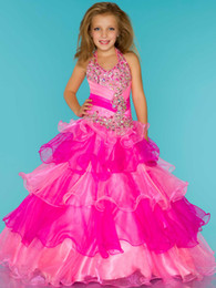 Wholesale Dressy Dress Size 12 - Cute Rose Blue Organza Halter Beaded Sugar Girls Pageant Dress Flower Girl Dresses Princess Dressy Skirt Custom Size 2-12 HF621060