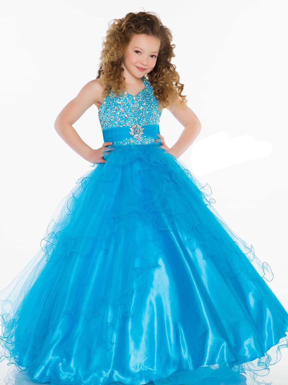 Pretty Pink Blue Tüll Halter Perlen Blumenmädchenkleider Prinzessin Pageant Kleider Mädchen Party Kleider Nach Maß 2-14 F525091