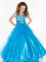 pretty dresses flower beads großhandel-Pretty Pink Blue Tüll Halter Perlen Blumenmädchenkleider Prinzessin Pageant Kleider Mädchen Party Kleider Nach Maß 2-14 F525091