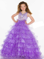 Pretty Purple Tulle V- Neck Beaded Sugar Girls Pageant Dress ...