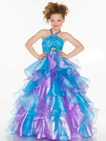 Pretty Purple& Blue Organza Halter Beaded Sugar Girls Pag...