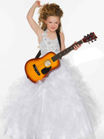 Sweet White Red Organza Halter Beaded Sugar Girls Pageant Dr...