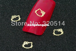 Wholesale Golden Nail Stickers - Wholesale-Free Shipping 1000pcs pack 3D Hello Kitty Design Nail Art Metal Sticker UV Gel Acrylic Tip Nail Art Cell Phone DecoraitonMY-174