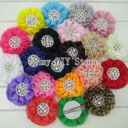 Wholesale Beaded Hair Colors - Beaded Chiffon Flower Pearl Rhinestone Chiffon Ruffled Flower WITH clip,baby girl hair accessories 10Pcs lot 20 colors in stock HH048+5.5cm