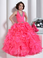 Beauty Pink Diamond Tulle Halter Beaded Sugar Girls Pageant ...