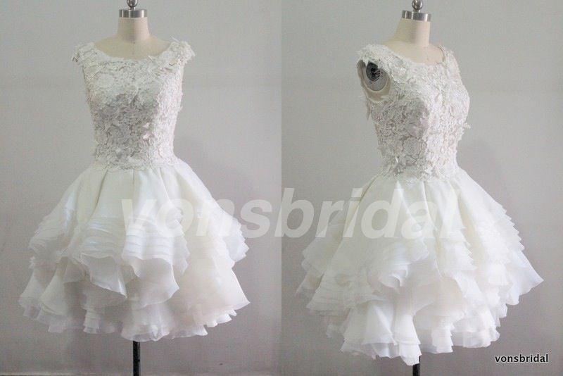 Short Ruffle Wedding Dress