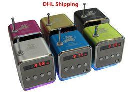 Wholesale Mini Radios Hot Colors - DHL Ship Hot Portable Mini Speaker TD-V26 Micro SD TF Card USB Disk MP3 Music Player Amplifier FM Radio Digital Speaker LCD Display 5 Colors