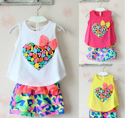 Wholesale Children Chiffon Cute Tops - Cute Kids Clothes Girls Colorful Peach Bowknot Tank Top Tshirt + Chiffon Shorts Outfit Children Child Heart Bow Tee Pants 2pcs Set D2729