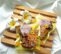 Wholesale Transparent Self Adhesive Bag - Free shipping yellow transparent rilakkuma small cookie bags dessert packing decorative self-adhesive bag favors