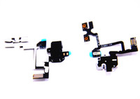 Wholesale Iphone 4s Headphone Jack Volume - For iPhone 4 4G 4S Headphone Audio Jack Ribbon Connector Power Volume Switch Flex Cable Replacement Repair Part Black & White