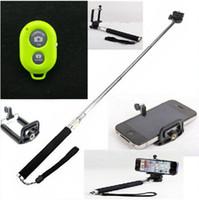 selbst-timer ausziehbares handheld-bluetooth großhandel-Bluetooth Remote Selbstauslöser Kamera Shutter erweiterbar Handheld Stativ Einbeinstativ Handheld Einbeinstativ erweiterbar Teleskop Pole Kamera + Shutter
