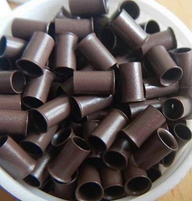 1000pcs Euro locks copper flared tube for I tip human hair extension tools 5# brown colour