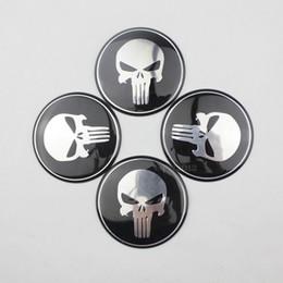 Wholesale Auto Decals Badges Emblems - 4 x Wheel Center Hub Cap Punisher Skull Emblem Badge Decal Sticker For Car Auto 60mm