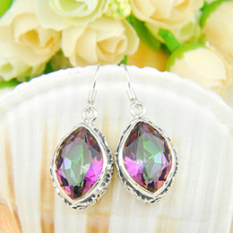 Wholesale Topaz Rhinestone Earrings - Whosale --Top Quality colourful red topaz 925 Silver Earrings E0177