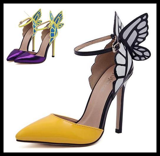 Fantasia borboleta dress shoes super star alta stiletto saltos tornozelo cinta dedo apontado bombas novidade sandálias de verão 11.5 cm eu35 a 40