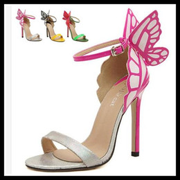 Wholesale Dreamy Butterfly Hot Pink One Strap Stiletto Heels Dress Sandals Super Sexy High Heels Women Shoes Colors EU35 to