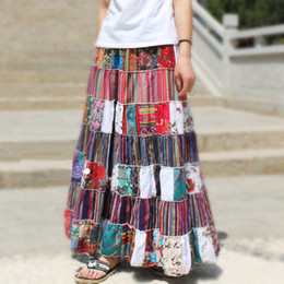 Wholesale Striped Maxi Skirts - Cotton Hemp Rag Striped Stitching Floral Novel Personality Casual Loose Girls Pleated Long Maxi Skirts for Women (Random Color)