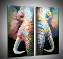 Wholesale Hand Wall Art - Top Quality Modern Elephant Painting on Canvas Oil Wall Art for Hotel restaurant Decoration Hand Painted 2pcs set