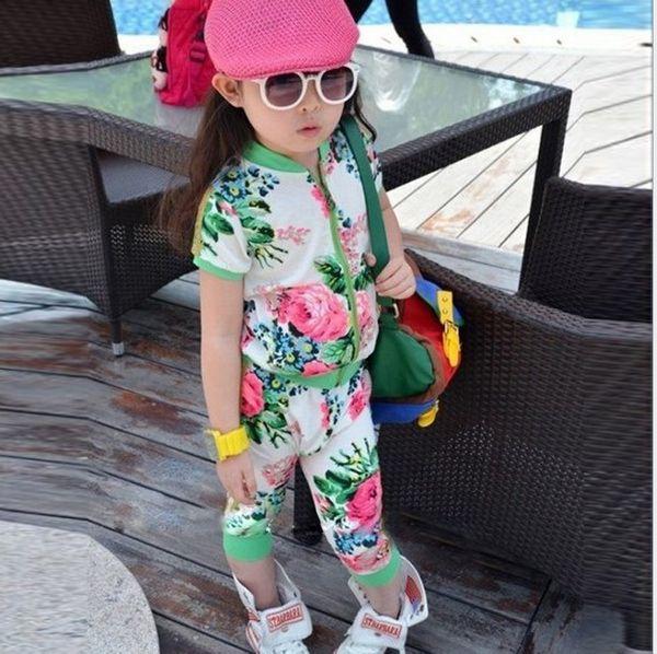 Летние девушки костюм активный цветочный короткий с цветами брюки детские кардиган детская одежда 3color печати сплайсинга спортивный костюм