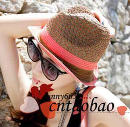 Straw golf hatS online shopping - fashion Women Classical Floppy Straw Brim Beach Hat lady girls ladies Sun Cap collapsible patchowrk colors drop shipping