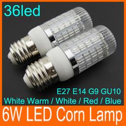 Wholesale E14 Red - Bright led corn lamp 550LM 6W G9 E27 E14 GU10 36 LEDs 5050 SMD LED Corn Lamp bulb light 360 degree led Lighting house 85-265V