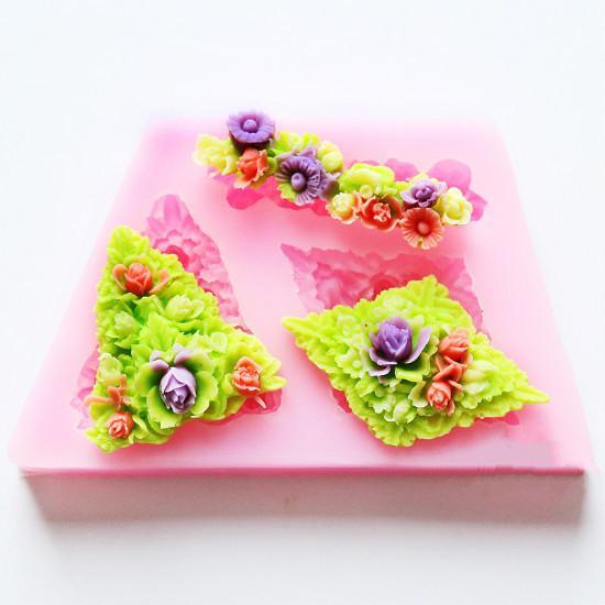 Flor de Silicone Molde Sabão Vela Fondant Moldes Moldes de Chocolate Açúcar Ferramentas Artesanais Moldes De Silicone Para Bolos Forma Para sabão molde