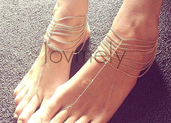 Bohemian Style Women Beach Smycken Vintage Guldkedja Fot Anklet Tillgänglig Guldpläterad Barefoot Sandal med Toe Ring Foot Armband