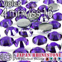 Wholesale Nailart Rhinestones - Wholesale-4mm SS16 Violet FlatBack Resin Rhinestones,2000pcs bag Non-hotfix Glueon loose for crystal stones for DIY NailArt Cellphone